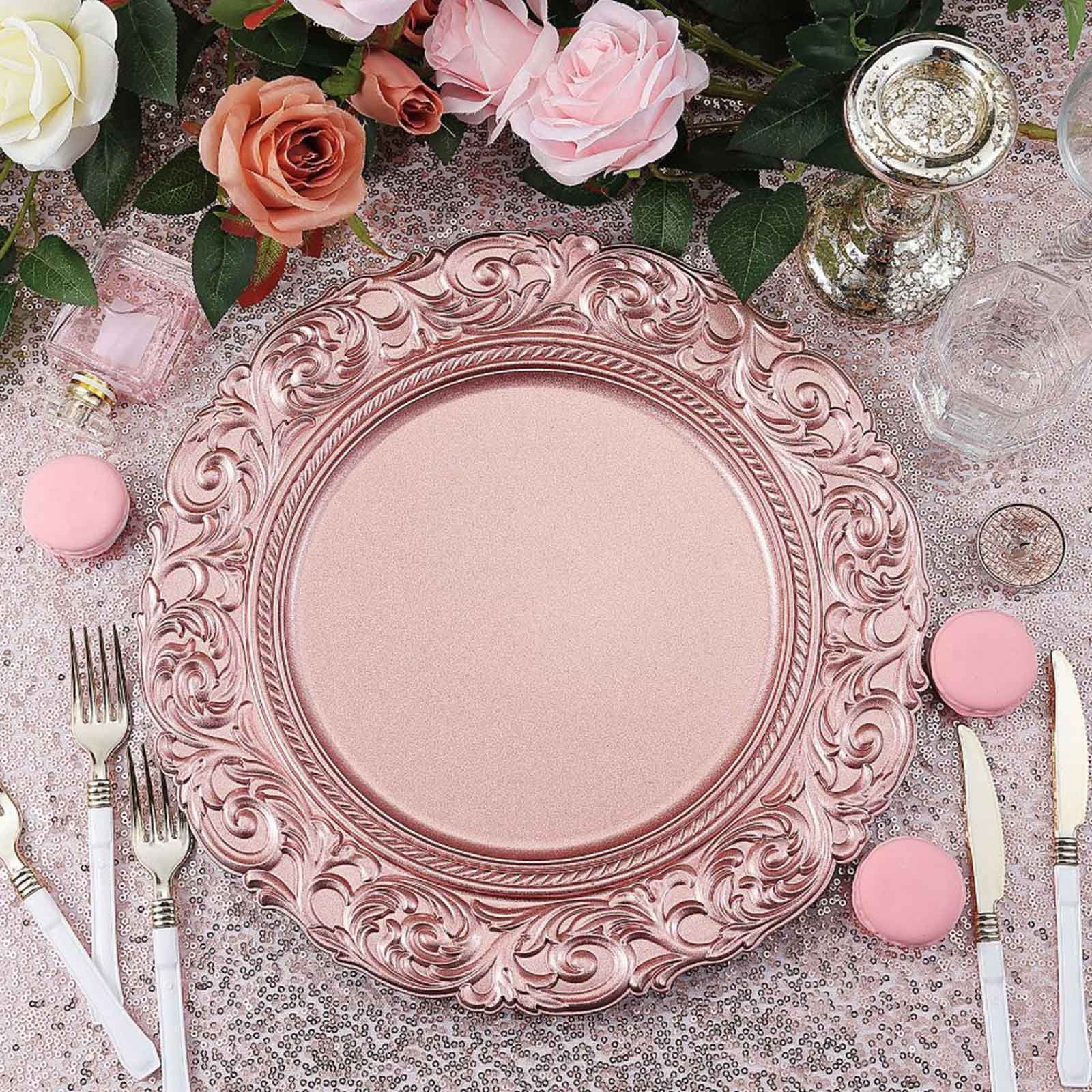 BalsaCircle 6 pcs 14-Inch Rose Gold Metallic Round Baroque Plastic Charger Plates Wedding Reception Discounted Decorations Supplies
