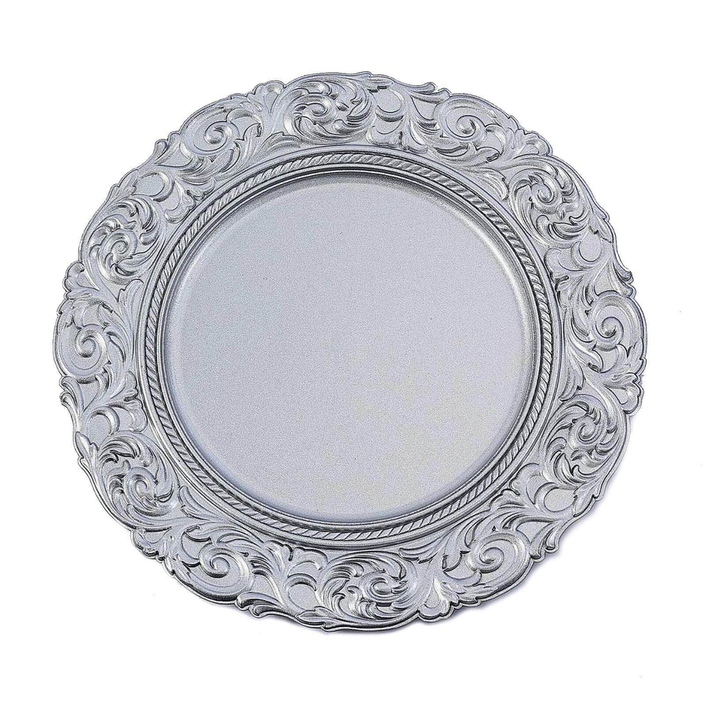 "Set of 6 | 14"" Round Metallic Silver Plastic Charger Plates With Engraved Baroque Design Rim"