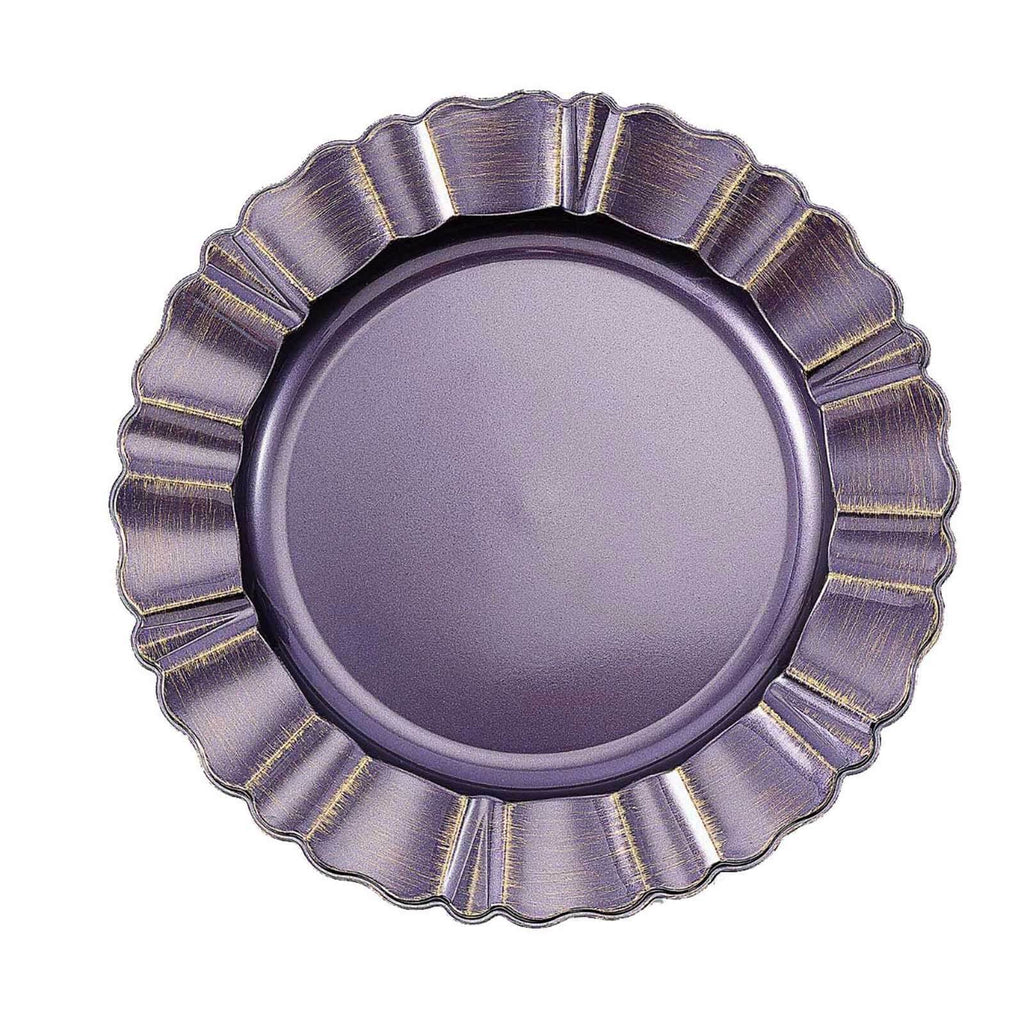 "Set of 6 | 13"" Round Purple/Gold Plastic Charger Plates With Waved Scalloped Rim"