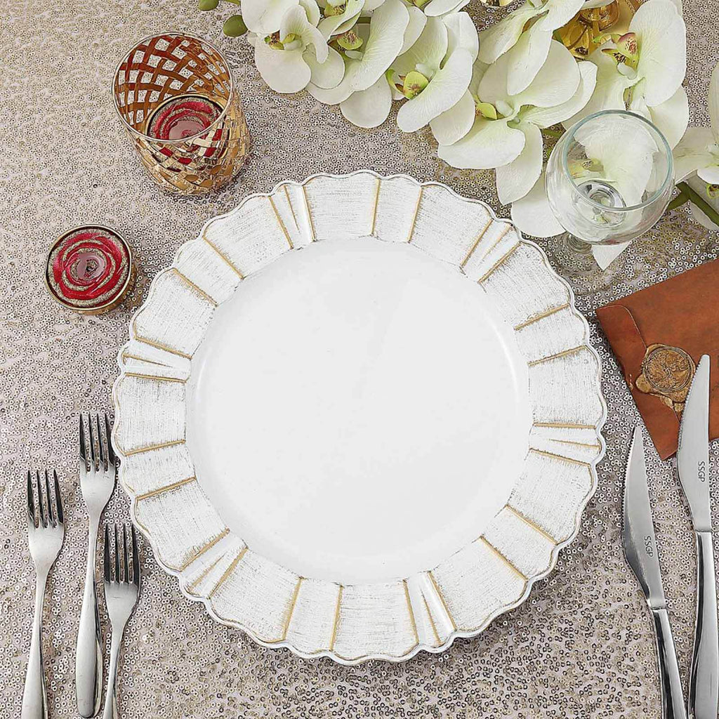"Set of 6 | 13"" Round White/Gold Plastic Charger Plates With Waved Scalloped Rim"