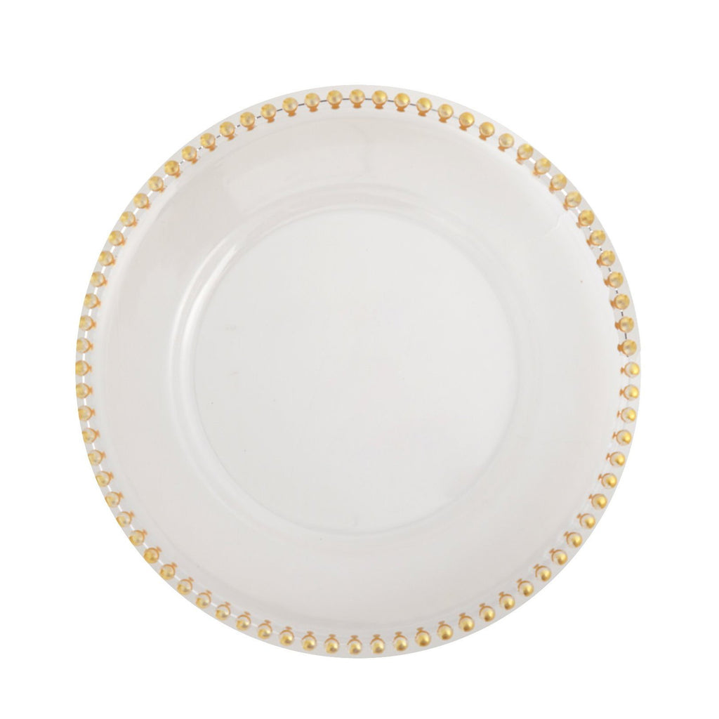 "6 Pack | 12"" Clear Acrylic Round Charger Plates With Gold Beaded Rim"
