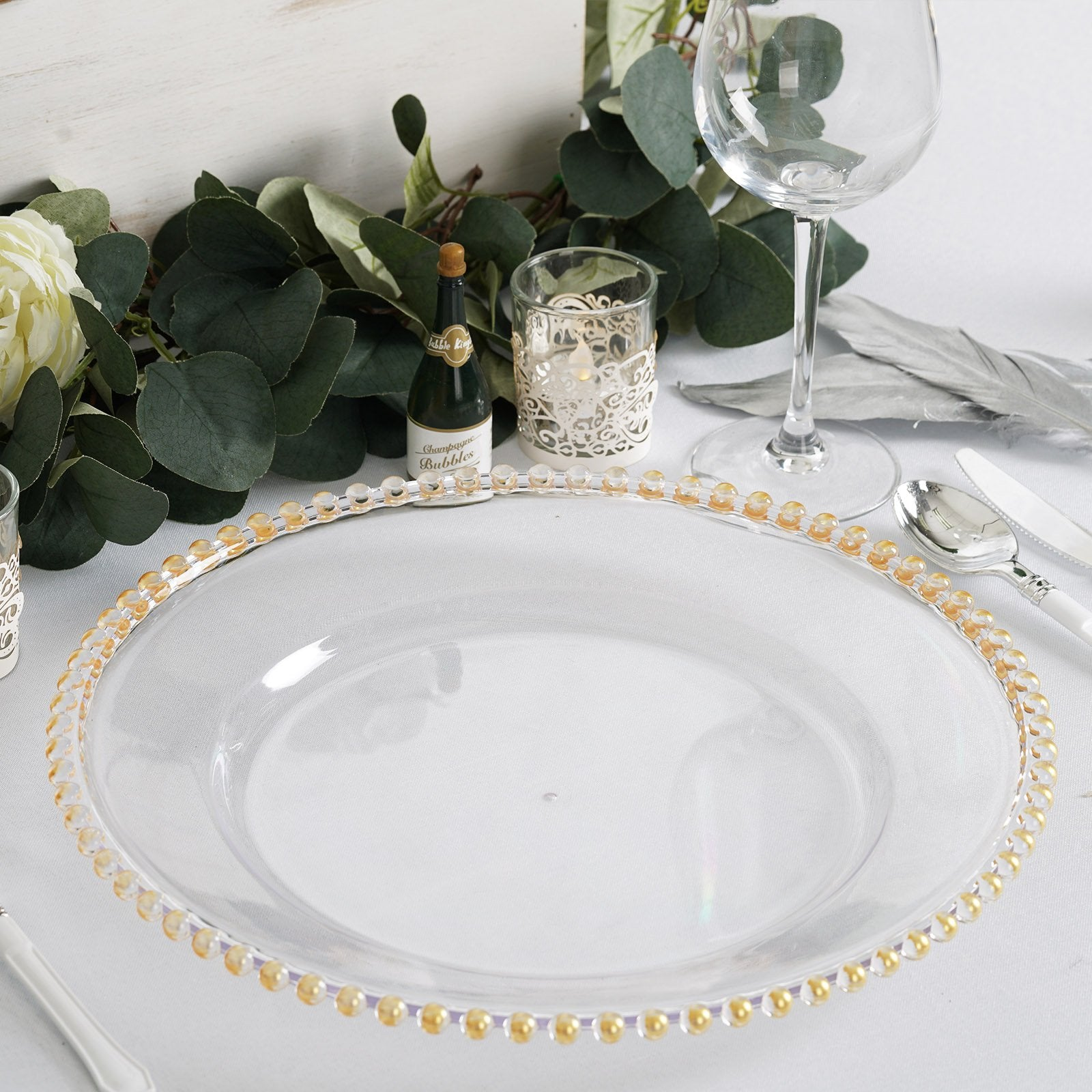 6 Pack 12 Clear Acrylic Round Charger Plates With Gold Beaded Rim Chaircoverfactory