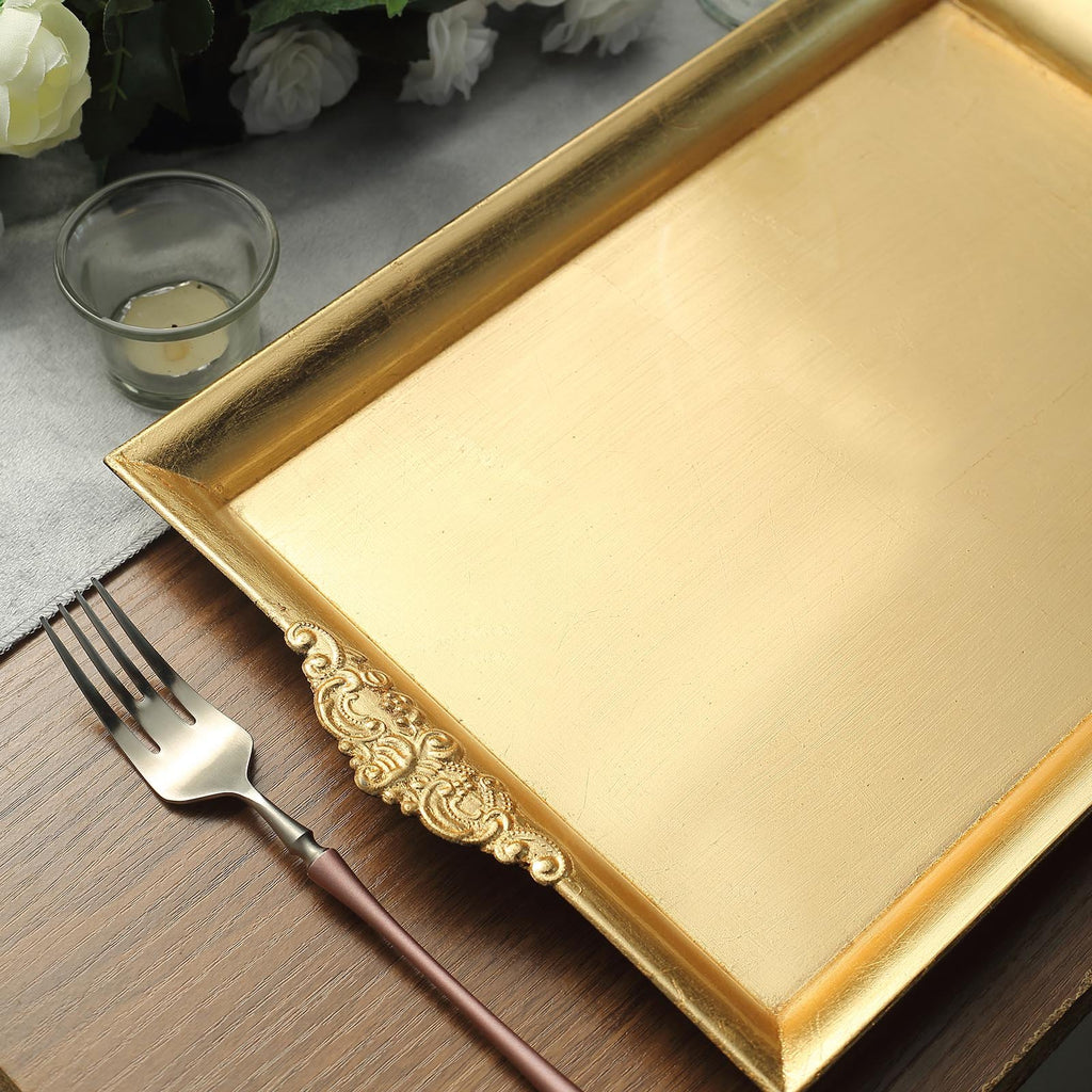 "Decorative Acrylic Serving Trays | Pack of 2 | 14"" x 10"" Rectangle 