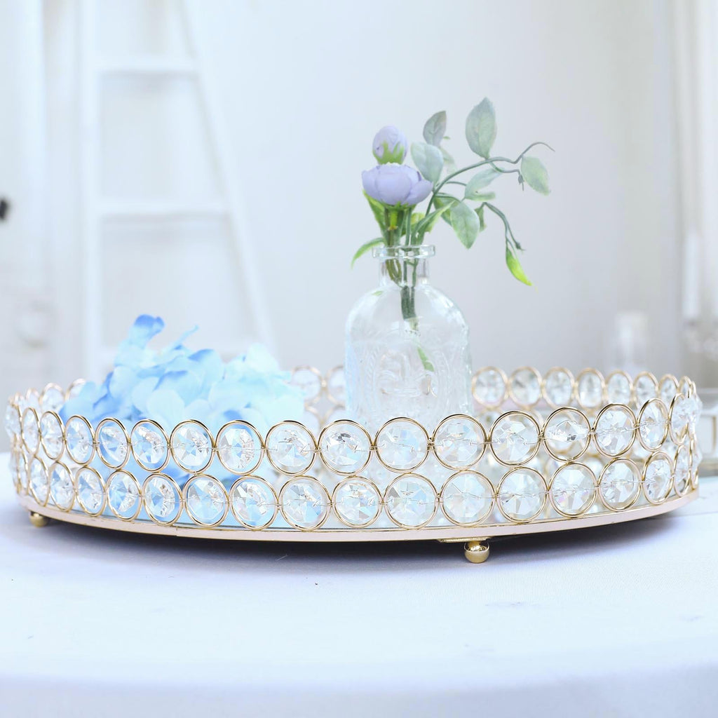 "16"" x 12"" Gold Metal Crystal Beaded Decorative Serving Tray 
