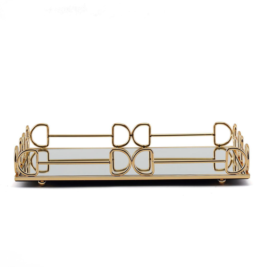 "Set of 2 | Gold Metal Decorative Serving Trays | Rectangle Mirror Trays - 13""x9"" 