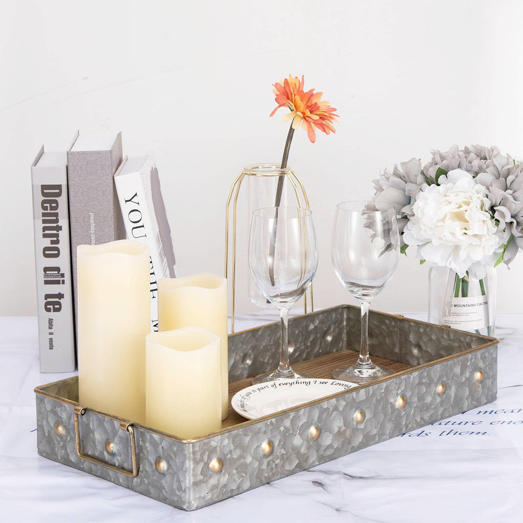 "19""x9.5"" Galvanized Metal And Wooden Decorative Serving Tray With Handle"