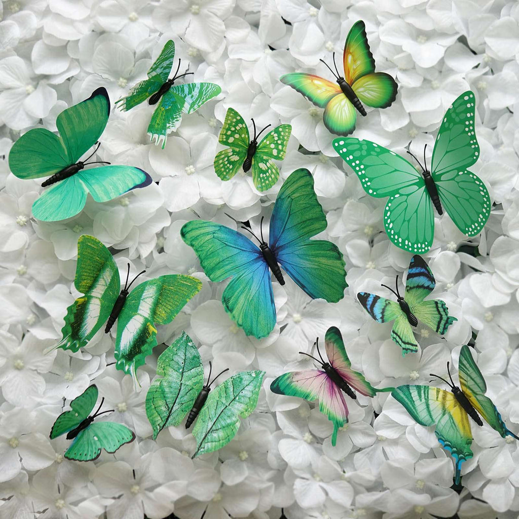 12 Pack 3D Butterfly Living Room Wall Decals Stickers DIY – Green Collection