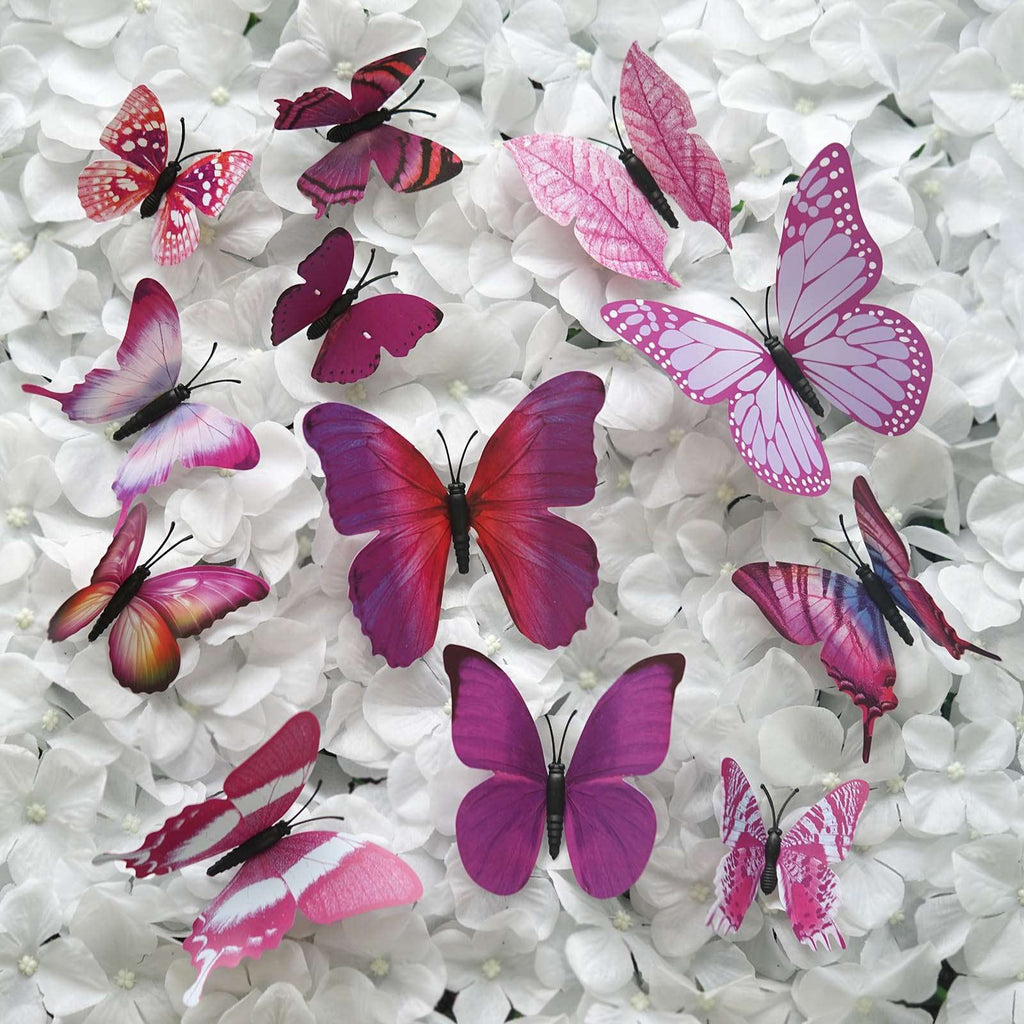 12 Pack 3D Butterfly Living Room Wall Decals Stickers DIY – Purple Collection