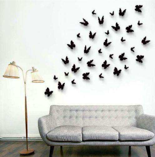 12 Pack Double Wing 3D Butterfly Living Room Wall Decals Stickers DIY - Pestal Pink Collection