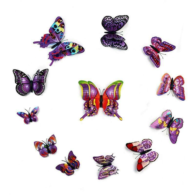 12 Pack Double Wing 3D Butterfly Living Room Wall Decals Stickers DIY - Purple Collection