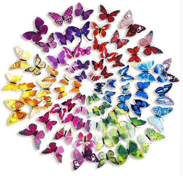 12 Pack Double Wing 3D Butterfly Living Room Wall Decals Stickers DIY - Fuchsia Collection