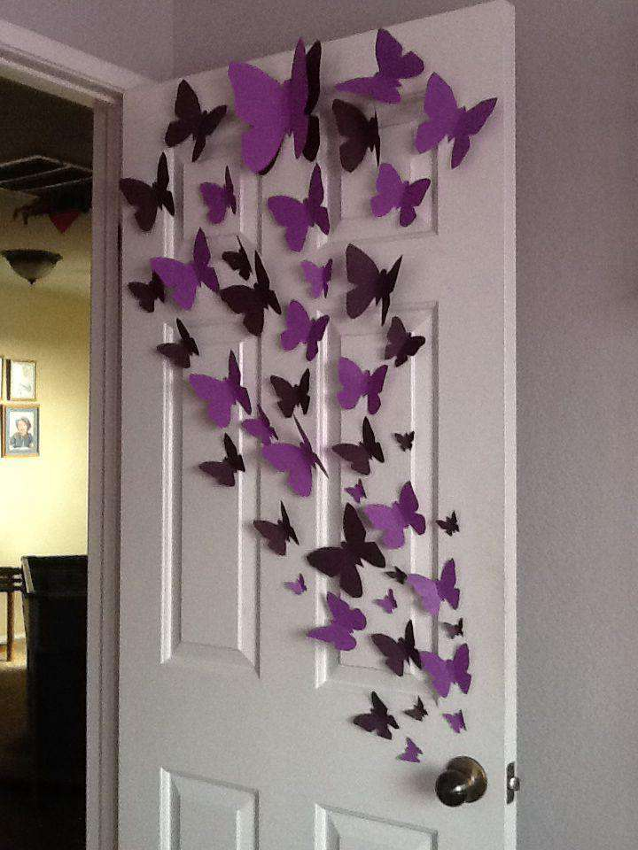 12 Pack Double Wing 3D Butterfly Living Room Wall Decals Stickers DIY - White Collection