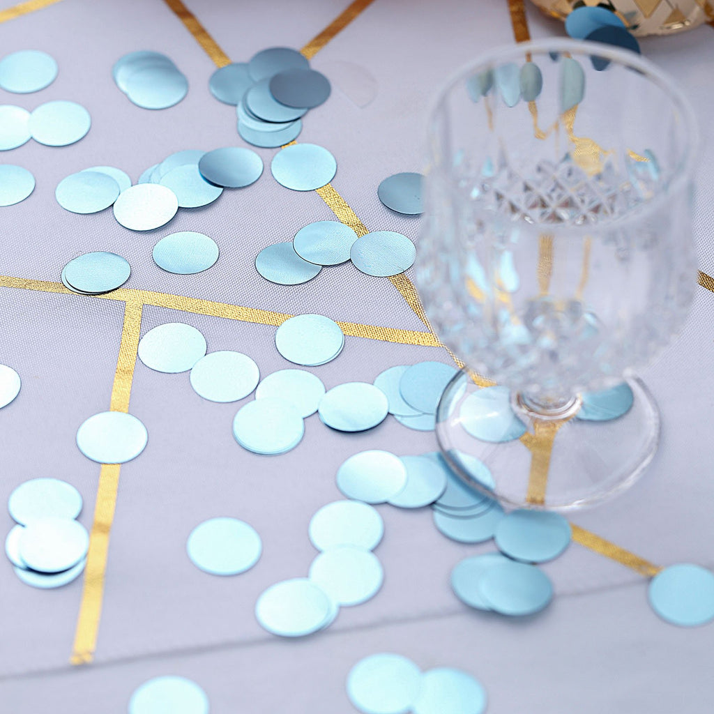 Dusty Blue Round Foil Metallic Table Confetti Dots, Balloon Confetti Decor