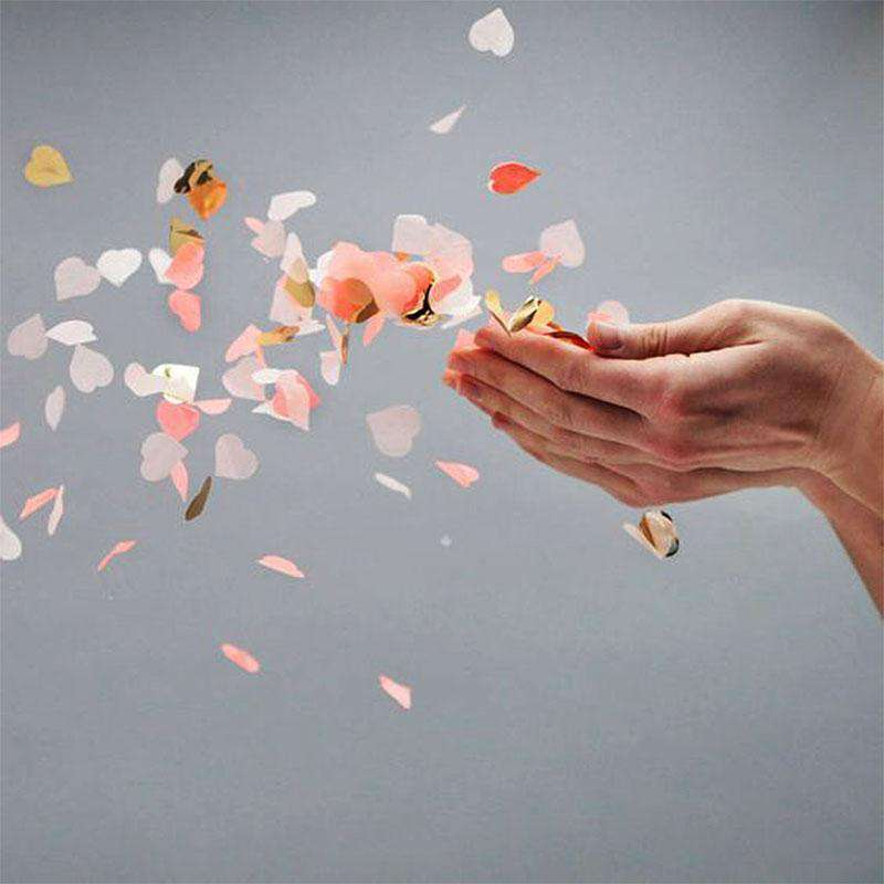 300 PCS Gold Metallic Foil Heart Confetti Sprinkles