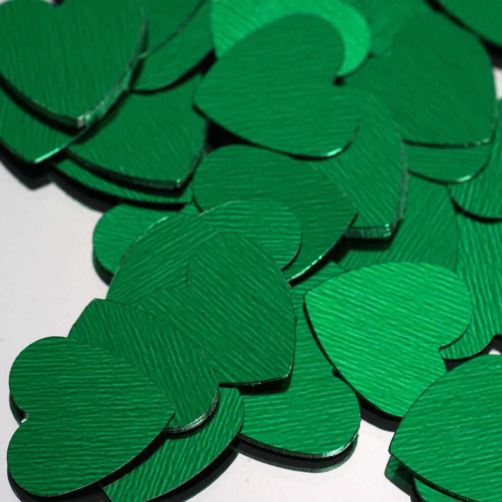 Dreamy Metallic Foil Wedding-Party Heart Confetti Sprinkles- 300 PCS-Green