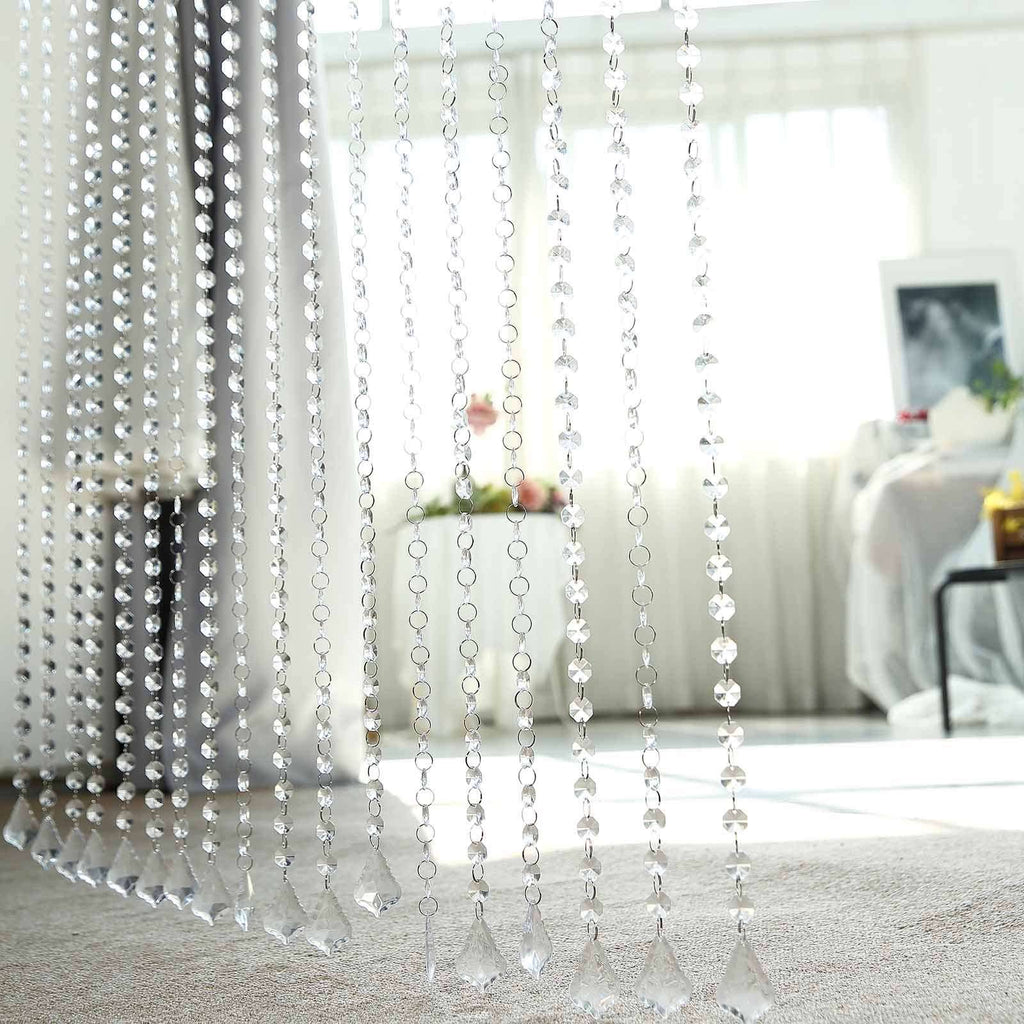 36 Sq Ft Crystal 1.2 cm Octagon Diamond Iridescent Beaded Curtain with Bendable Metal Rod and Adjustable Hooks