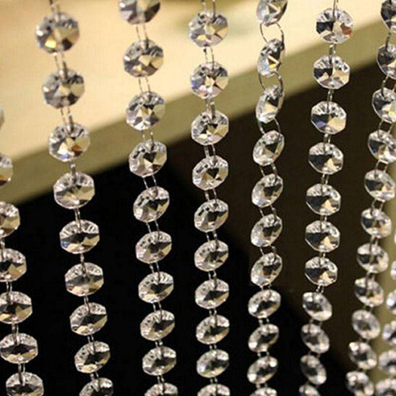 60 Sq Ft Crystal 1.2 cm Octagon Diamond Premium Beaded Curtain with Bendable Metal Rod