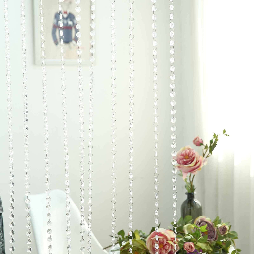 36 Sq Ft Crystal 1.2 cm Octagon Diamond Premium Iridescent Beaded Curtain with Metal Rod
