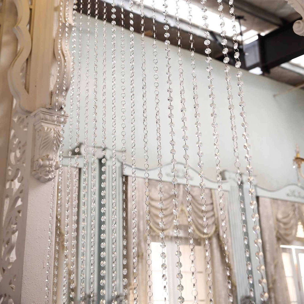 36 Sq Ft Crystal 1.2 cm Octagon Diamond Premium Iridescent Beaded Curtain with Metal Rod and Adjustable Hooks