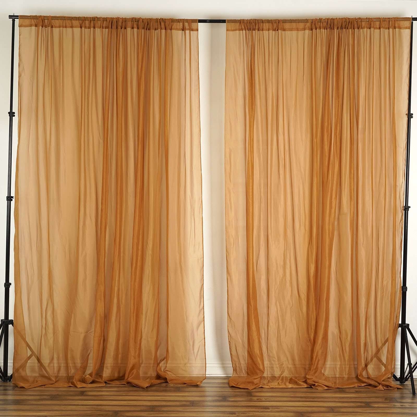2 Pack 5ftx10ft Gold Fire Retardant Sheer Organza Premium Curtain Pa Chaircoverfactory