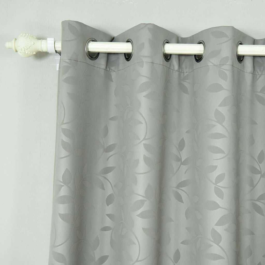 "2 Pack | 52""x84"" Charcoal Grey Embossed Thermal Blackout Curtains With Chrome Grommet Window Treatment Panels"