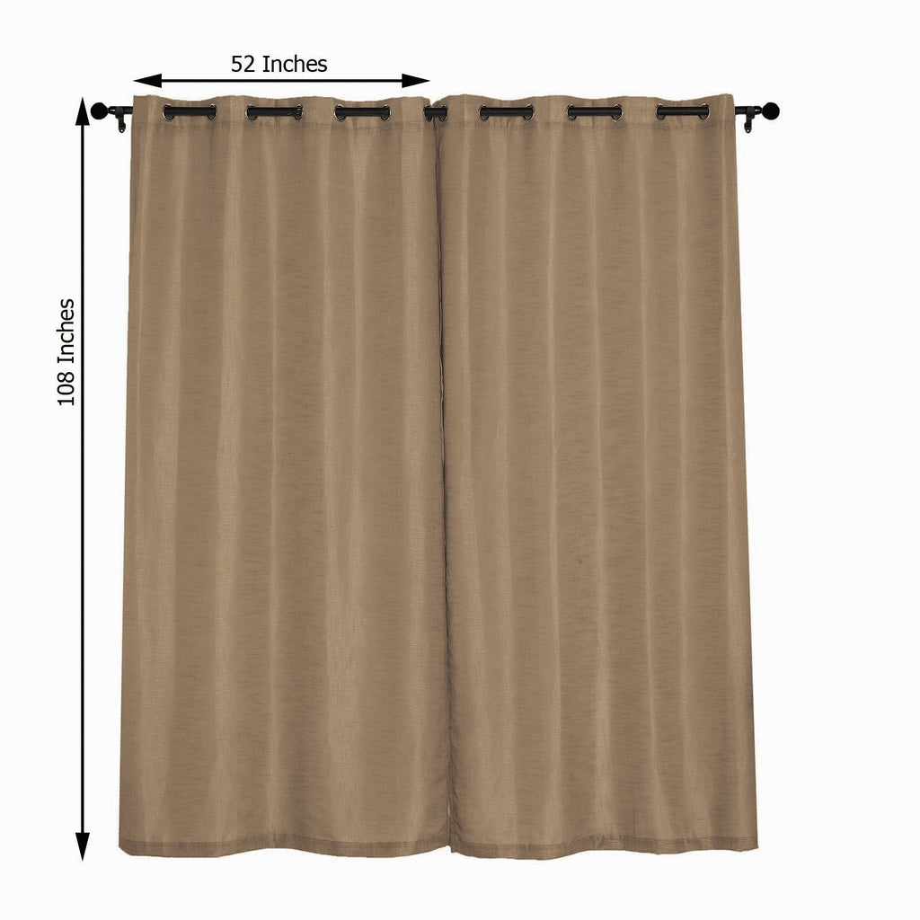 52x108inch Taupe Faux Linen Curtains, Semi Sheer Curtain Panels with Chrome Grommet
