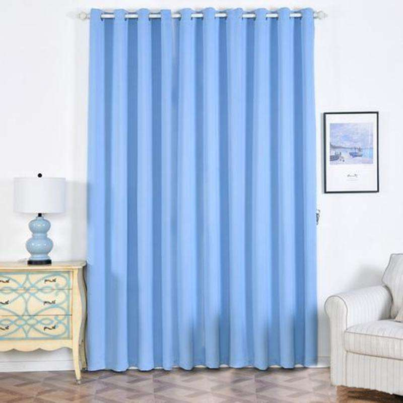 "2 Pack | 52""x108"" Serenity Blue Thermal Blackout Curtains With Chrome Grommet Window Treatment Panels"