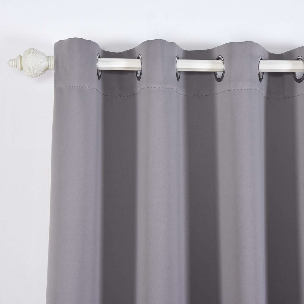 "2 Pack | 52""x108"" Charcoal Grey Thermal Blackout Curtains With Chrome Grommet Window Treatment Panels"