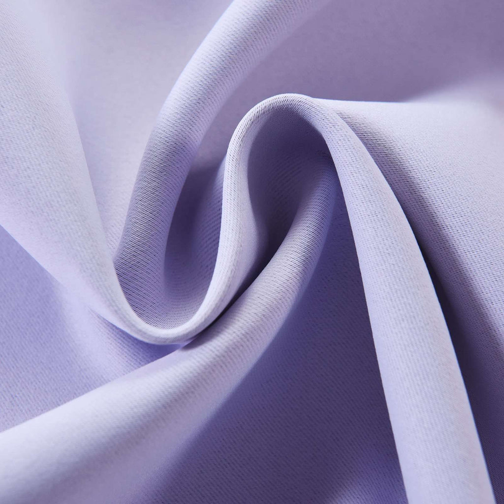 "2 Pack | 52""x108"" Lavender Thermal Blackout Curtains With Chrome Grommet Window Treatment Panels"