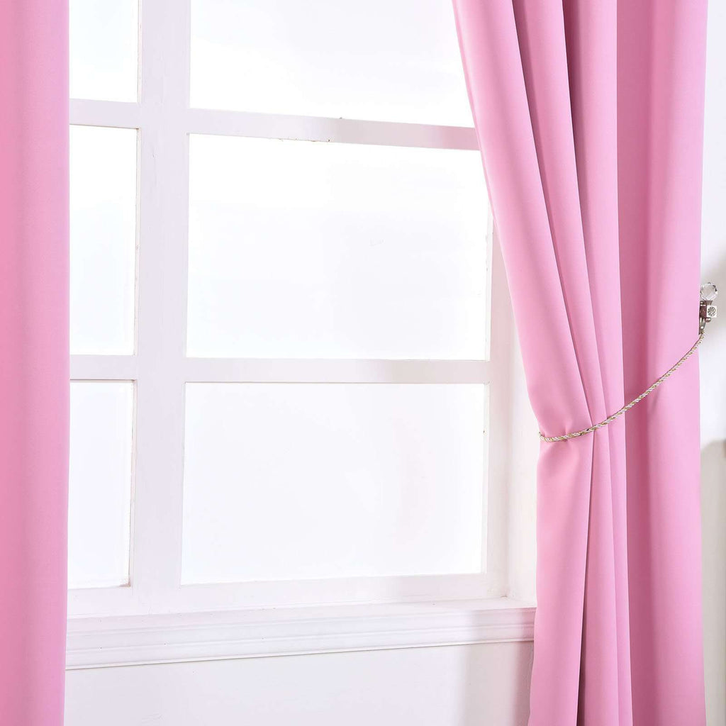 "2 Pack | 52""x64"" Pink Thermal Blackout Curtains With Chrome Grommet Window Treatment Panels"