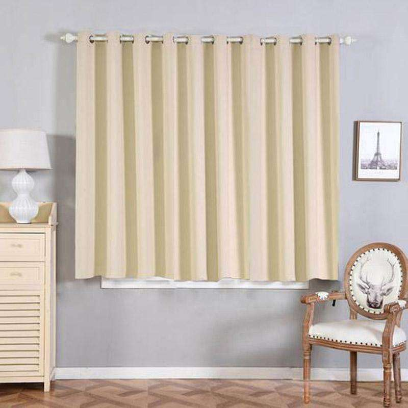 "2 Pack | 52""x64"" Beige Thermal Blackout Curtains With Chrome Grommet Window Treatment Panels"