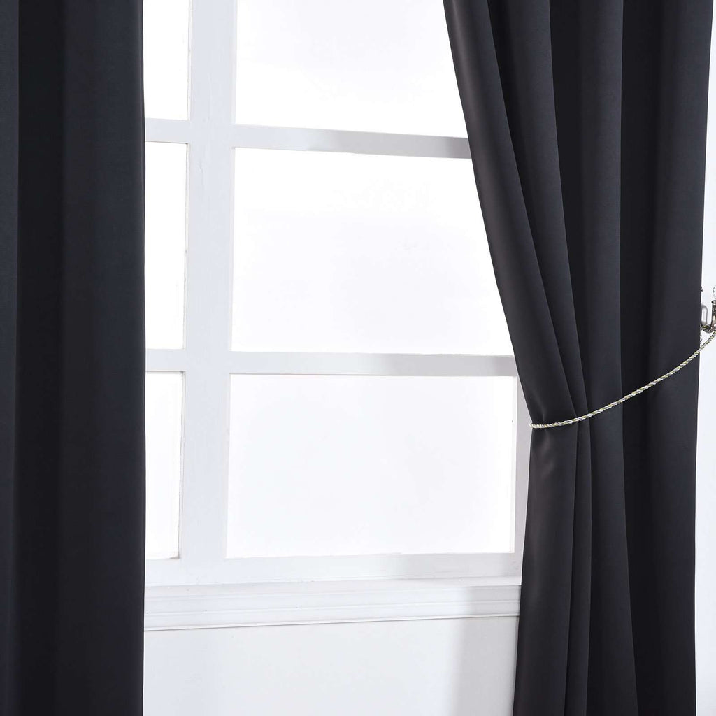 "2 Pack | 52""x64"" Black Thermal Blackout Curtains With Chrome Grommet Window Treatment Panels"