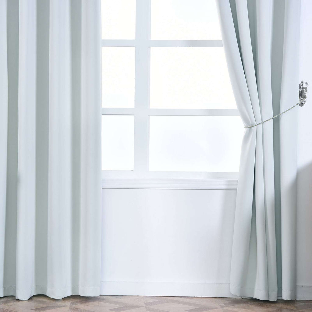 "Blackout Curtains 54x64"" Silver Pack of 2 Thermal Insulated With Chrome Grommet Curtain Panels"