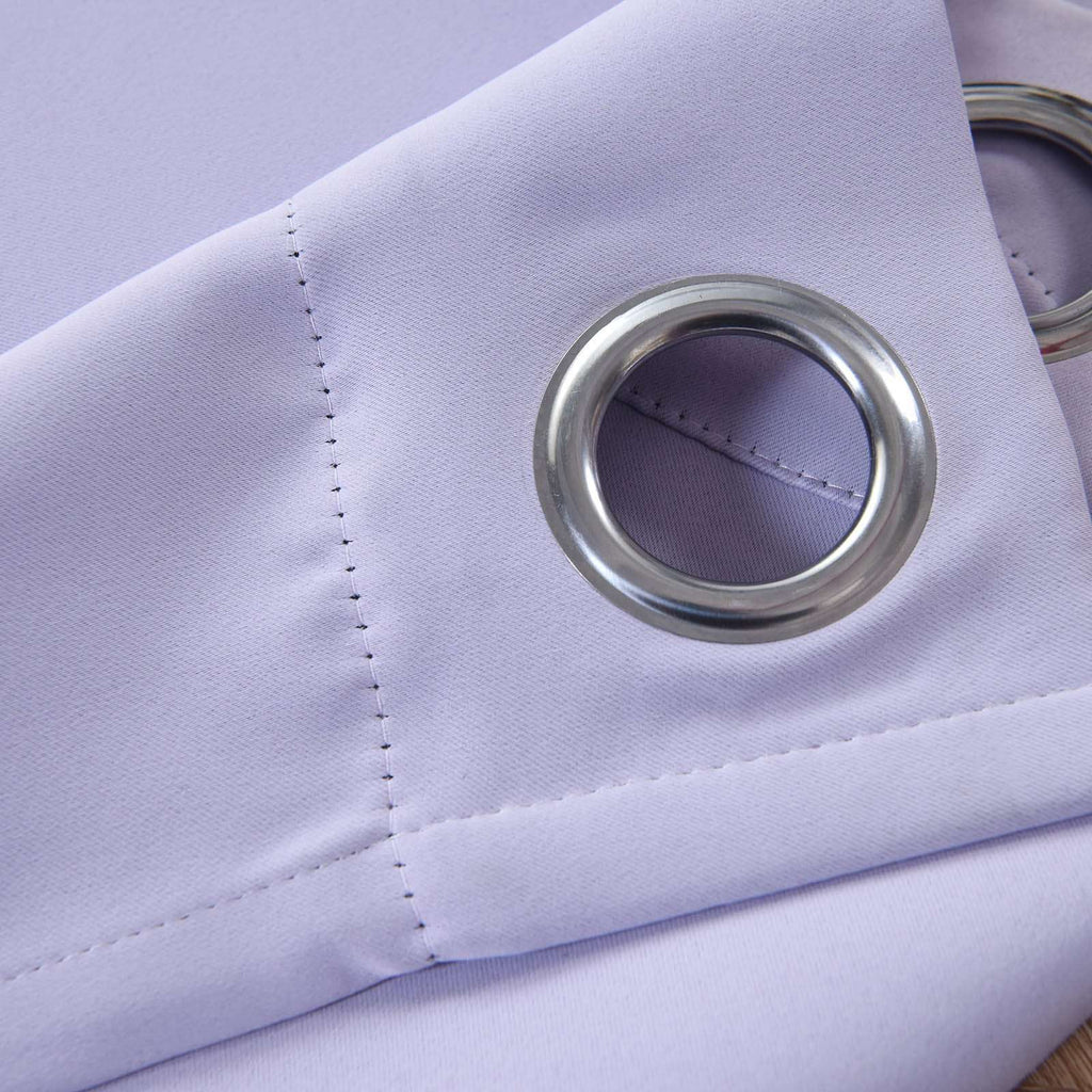 "2 Pack | 52""x84"" Lavender Thermal Blackout Curtains With Chrome Grommet Window Treatment Panels"