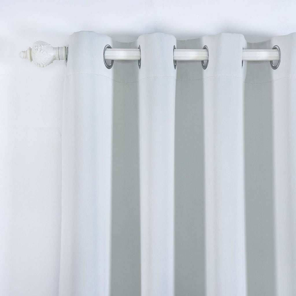"2 Pack | 52""x84"" Silver Thermal Blackout Curtains With Chrome Grommet Window Treatment Panels"