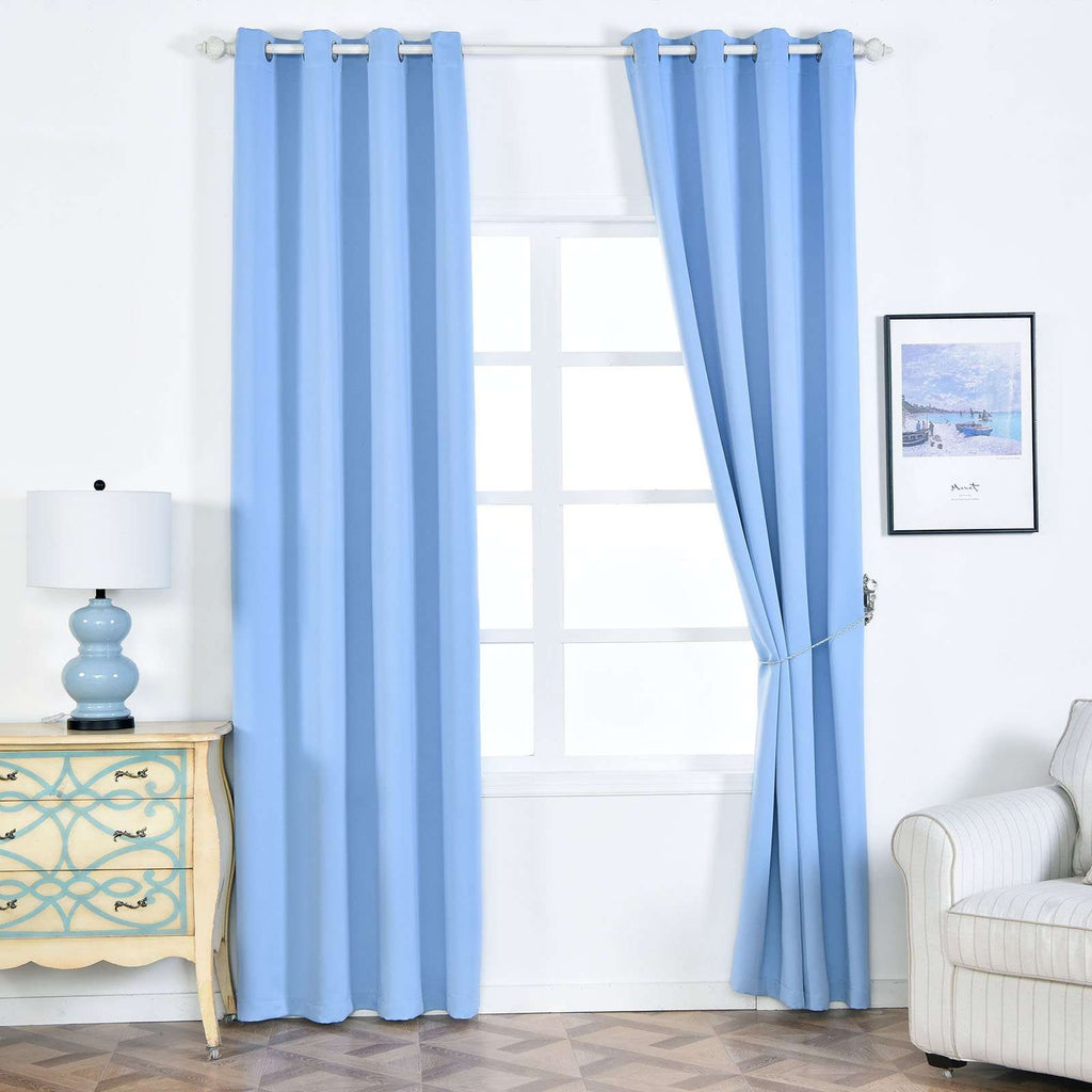 "2 Pack | 52""x96"" Serenity Blue Thermal Blackout Curtains With Chrome Grommet Window Treatment Panels"