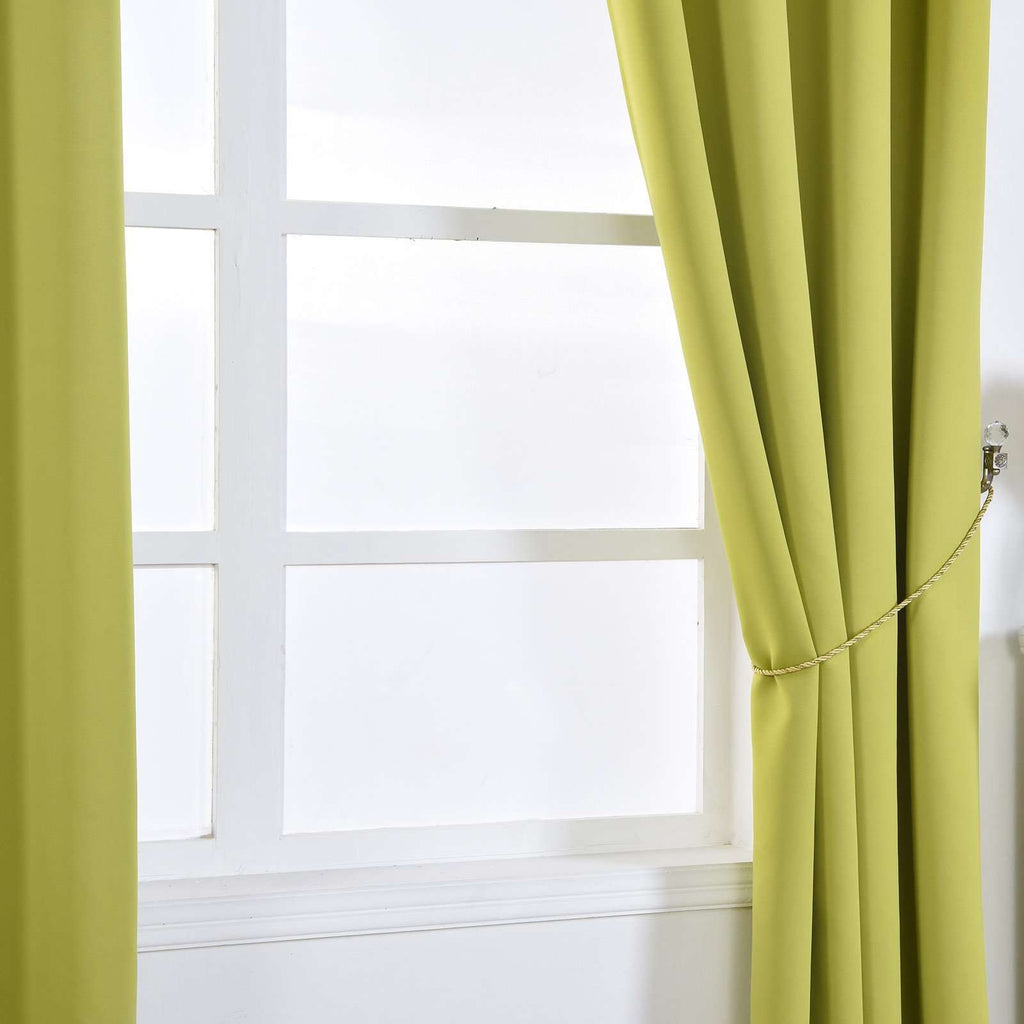 "2 Pack | 52""x96"" Sage Green Thermal Blackout Curtains With Chrome Grommet Window Treatment Panels"