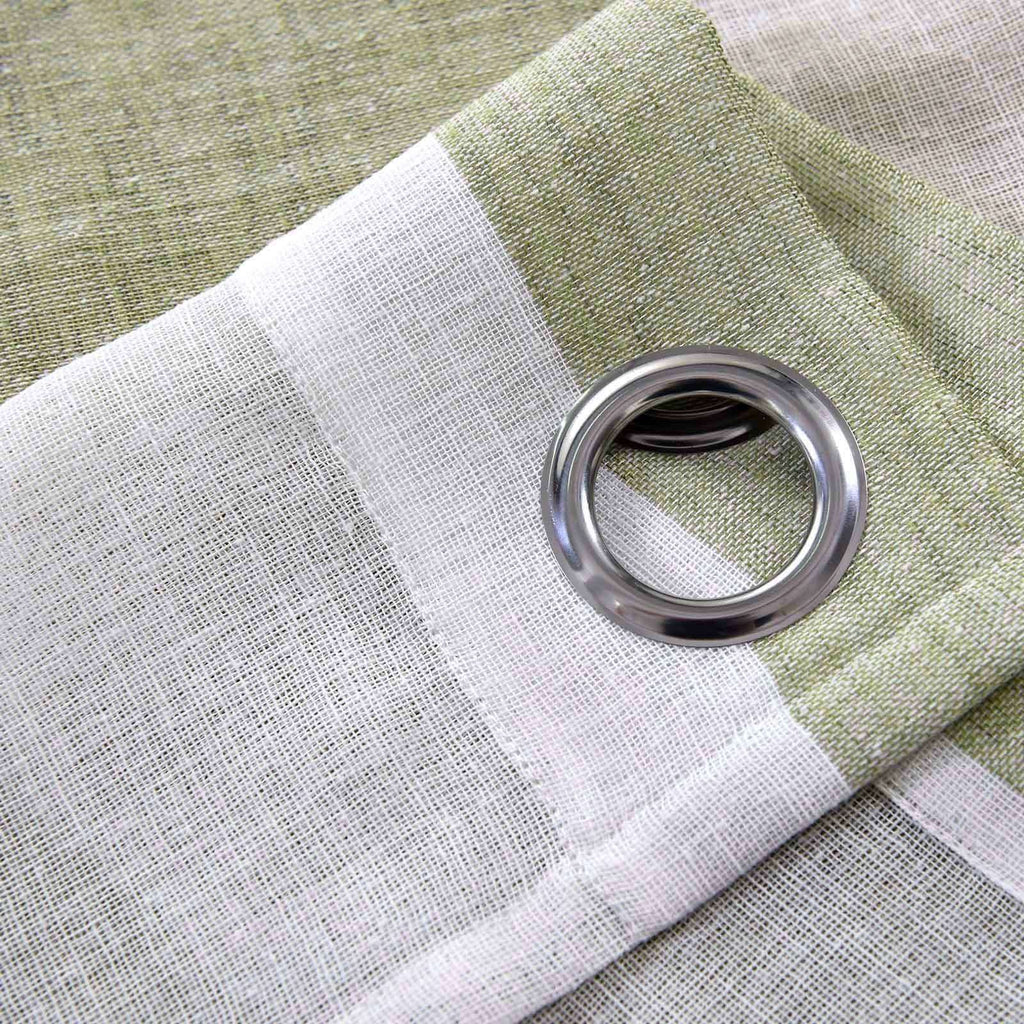 "2 Pack 52""x 108"" Cabana Print Faux Linen Curtain Panels With Chrome Grommet - White / Sage Green"