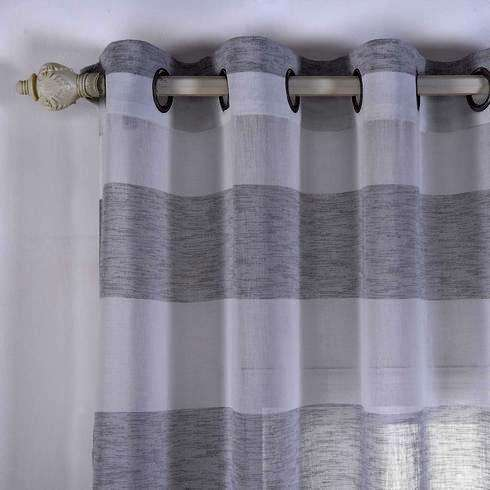 "2 Pack 52""x 108"" Cabana Print Faux Linen Curtain Panels With Chrome Grommet - White / Silver"