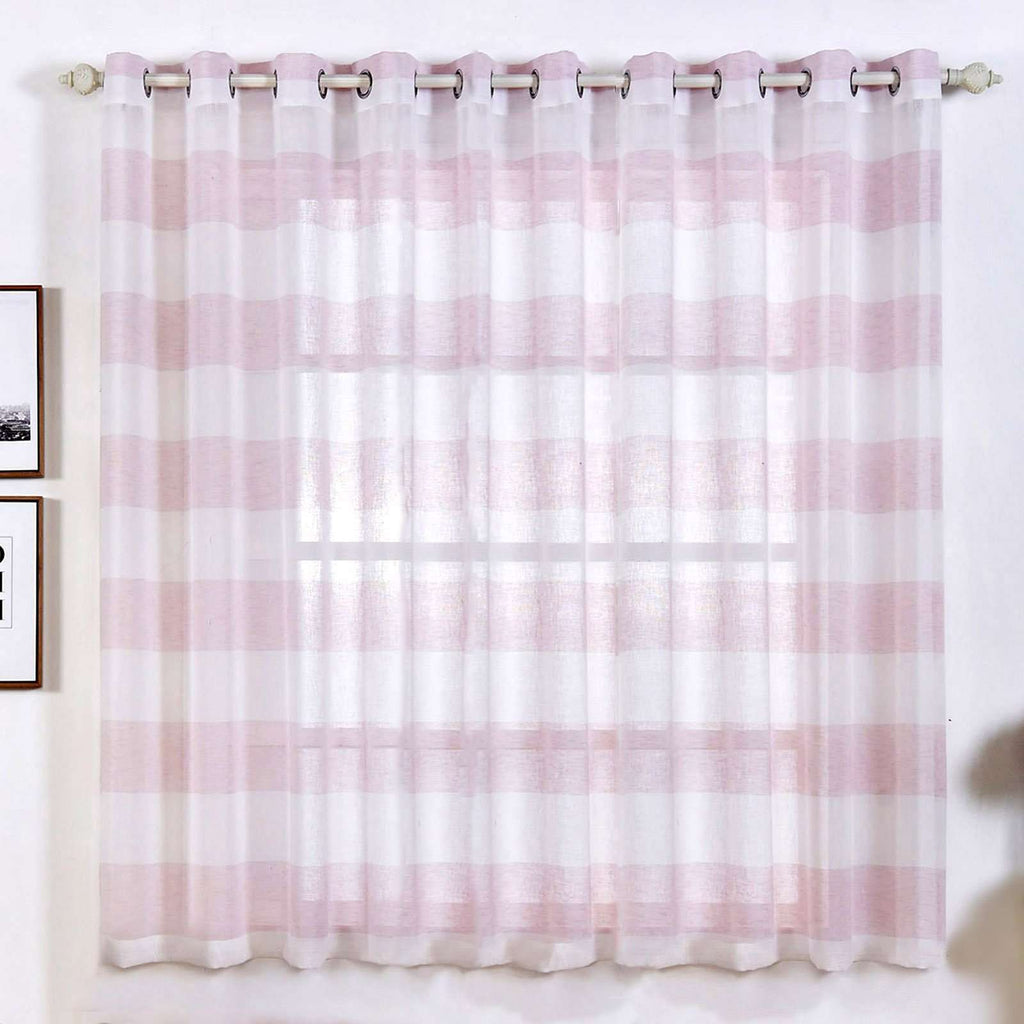 "2 Pack 52""x 64"" Cabana Print Faux Linen Curtain Panels With Chrome Grommet - White / Blush"