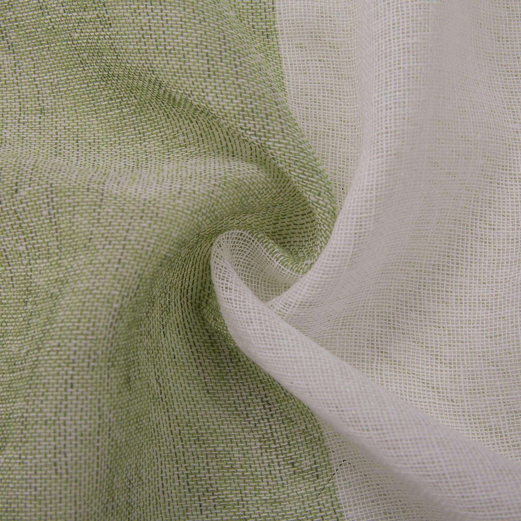 "2 Pack 52""x 64"" Cabana Print Faux Linen Curtain Panels With Chrome Grommet - White / Sage Green"