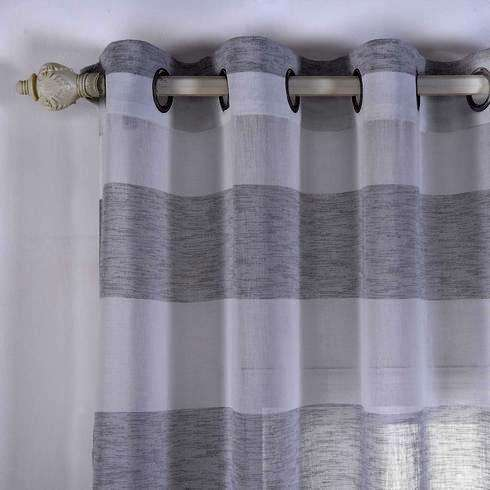 "2 Pack 52""x 64"" Cabana Print Faux Linen Curtain Panels With Chrome Grommet - White / Silver"