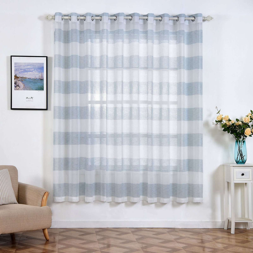 "2 Pack 52""x 84"" Cabana Print Faux Linen Curtain Panels With Chrome Grommet - White / Blue"