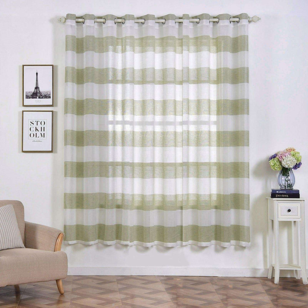 "2 Pack 52""x 84"" Cabana Print Faux Linen Curtain Panels With Chrome Grommet - White / Sage Green"