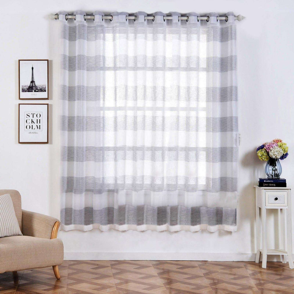 "2 Pack 52""x 84"" Cabana Print Faux Linen Curtain Panels With Chrome Grommet - White / Silver"