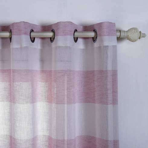 "2 Pack 52""x 96"" Cabana Print Faux Linen Curtain Panels With Chrome Grommet - White / Blush"