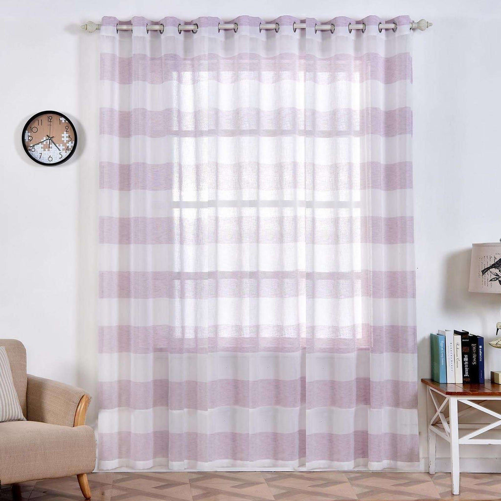 "2 Pack 52""x 96"" Cabana Print Faux Linen Curtain Panels With Chrome Grommet - White / Lavender"