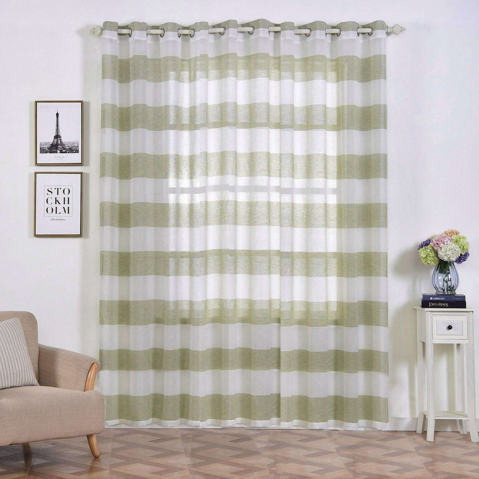 2 Pack 52 X 96 Cabana Print Faux Linen Curtain Panels With Chrome Grommet White Sage Green