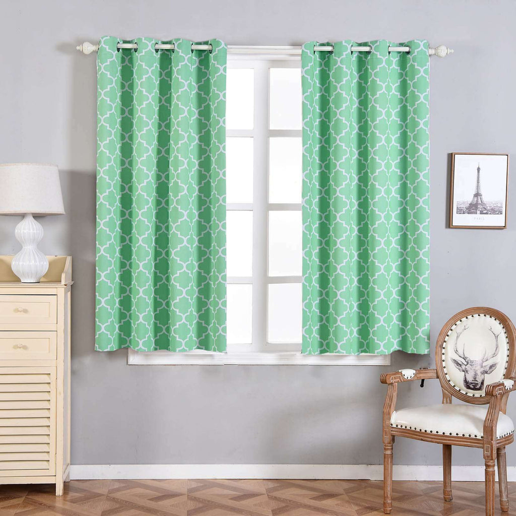 "Blackout Curtains Lattice Print 52""x64"" White/Mint Pack of 2 Thermal Insulated With Chrome Grommet Window Treatment Panels"