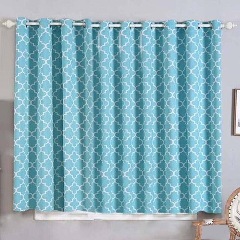 "2 Pack | 52""x64"" Lattice Print Thermal Blackout Curtains With Chrome Grommet Window Treatment Panels - White 